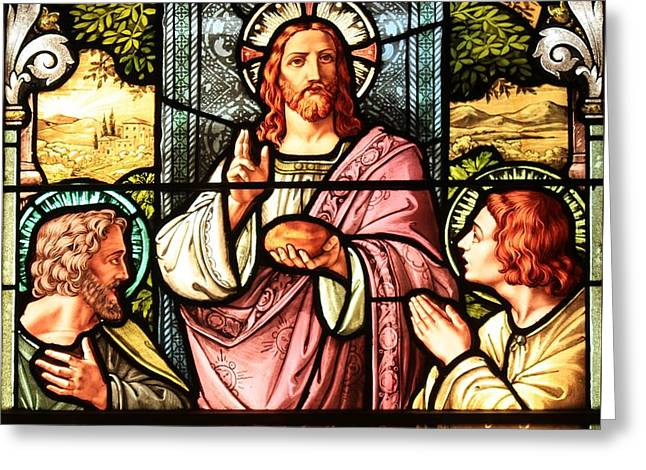 Recently Sold -  - The Church Greeting Cards - A Feast With Jesus Greeting Card by Adam Jewell