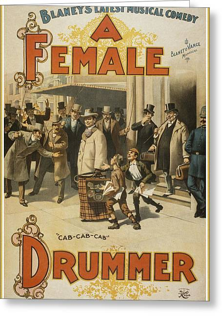 Musical Film Drawings Greeting Cards - A Female Drummer Greeting Card by Aged Pixel