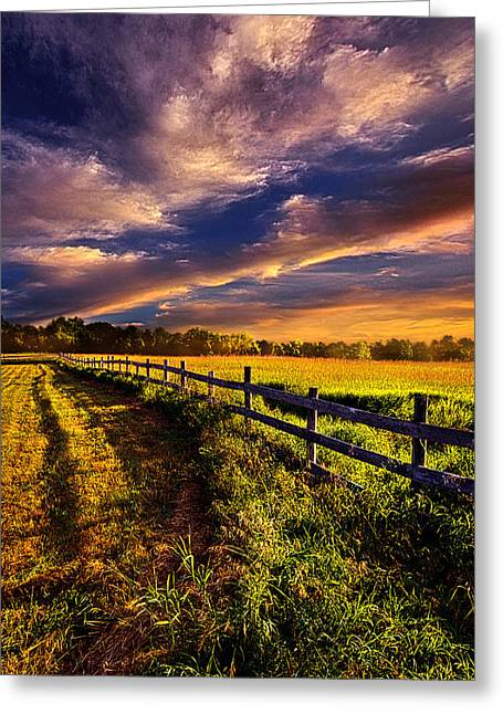 Fence Greeting Cards - A Fence Runs Through It Greeting Card by Phil Koch