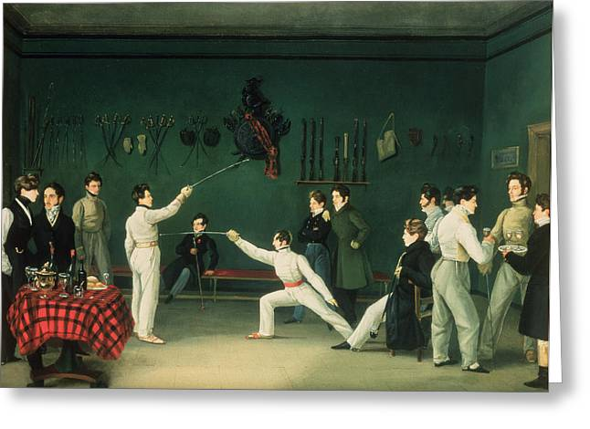 Social Photographs Greeting Cards - A Fencing Scene, 1827 Oil On Canvas Greeting Card by Adolphe Ladurner