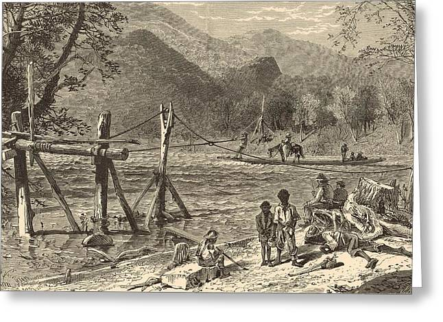 A Ferry On The French Broad 1872 Engraving Greeting Card by Antique Engravings
