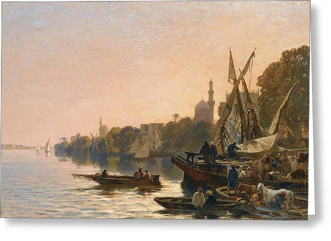 Rosary Greeting Cards - A Ferry On The Nile Greeting Card by Celestial Images