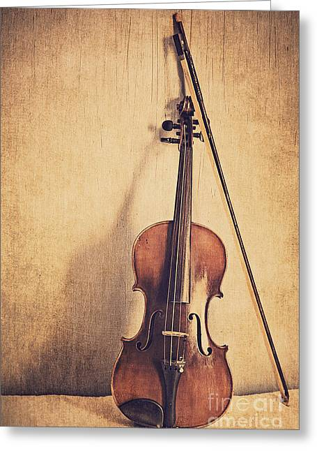 Violin Bows Violin Bows Greeting Cards - A Fiddle Greeting Card by Emily Kay