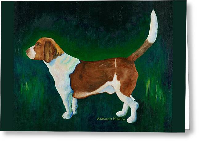 Beagle Puppies Print Greeting Cards - A Field of Green Greeting Card by KLM Kathel