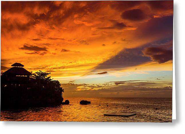 A Fiery Sky During A Dramatic Sunset Greeting Card by Mike Theiss