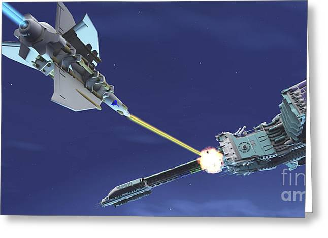 Warp Speed Greeting Cards - A Fighter Spacecraft Blasts A Large Greeting Card by Corey Ford