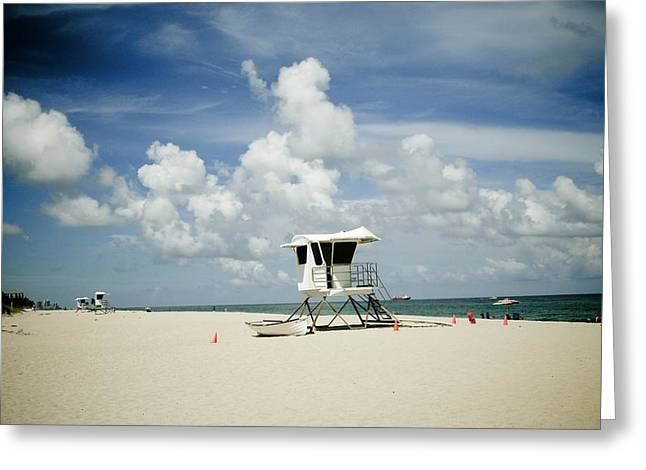 Ocean Shore Greeting Cards - A Fine Day At The Beach Greeting Card by Nina Prommer