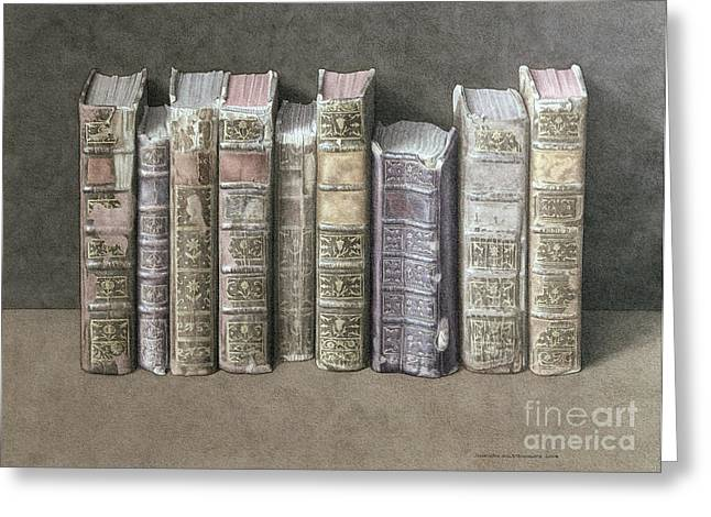 Thin Paintings Greeting Cards - A Fine Library Greeting Card by Jonathan Wolstenholme
