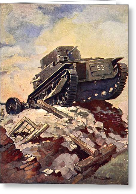 Trench Warfare Greeting Cards - A First World War Tank Greeting Card by J. Allen Shuffrey