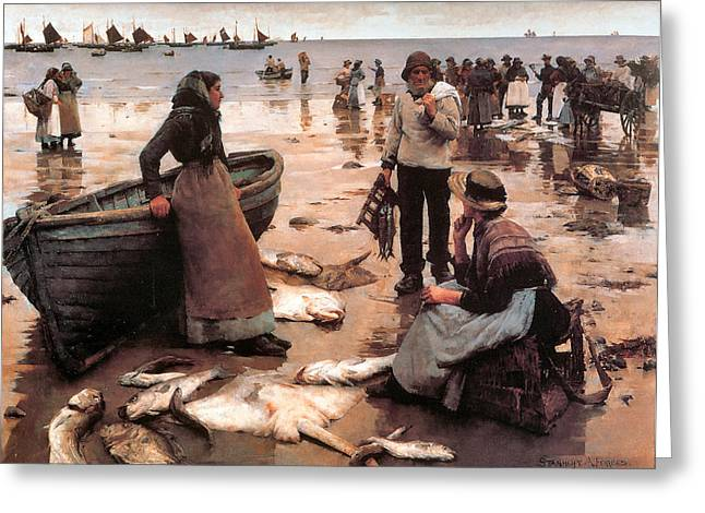 Sailboat Ocean Greeting Cards - A Fish Sale on a Cornish Beach Greeting Card by Stanhope Alexander Forbes