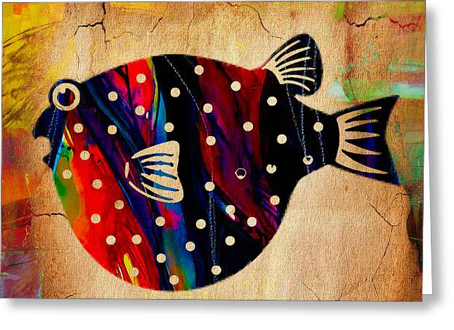 Colorful Fish Greeting Cards - A Fish Tale Greeting Card by Marvin Blaine