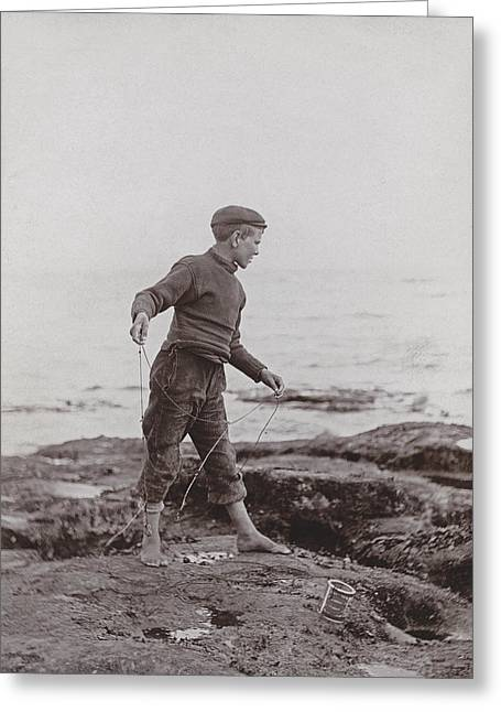 Pastimes Photographs Greeting Cards - A Fisher Laddie Greeting Card by James Patrck