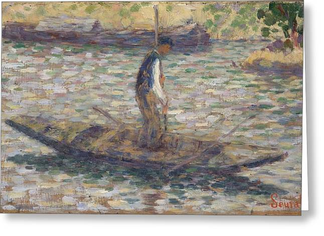Fishermen Greeting Cards - A Fisherman, C.1884 Greeting Card by Georges Pierre Seurat
