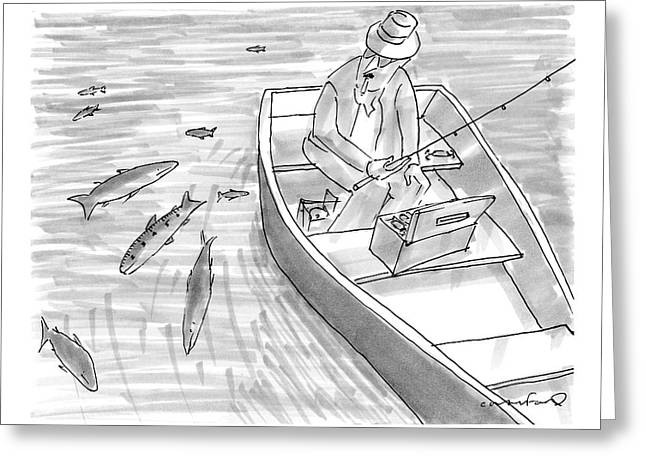 A Fisherman On A Rowboat Looks At The Fish Greeting Card by Michael Crawford