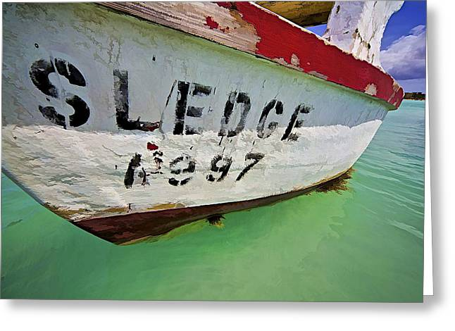 Sledge Photographs Greeting Cards - A Fishing Boat Named Sledge Greeting Card by David Letts