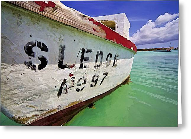 Sledge Photographs Greeting Cards - A Fishing Boat Named Sledge II Greeting Card by David Letts