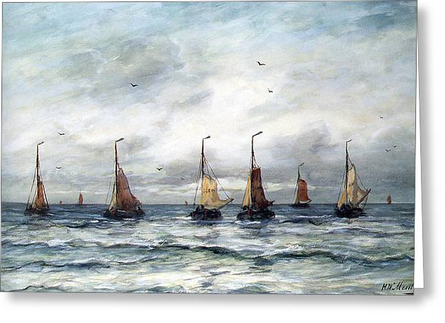 Sailboat Ocean Greeting Cards - A Fishing Fleet Greeting Card by Hendrik Willem Mesdag