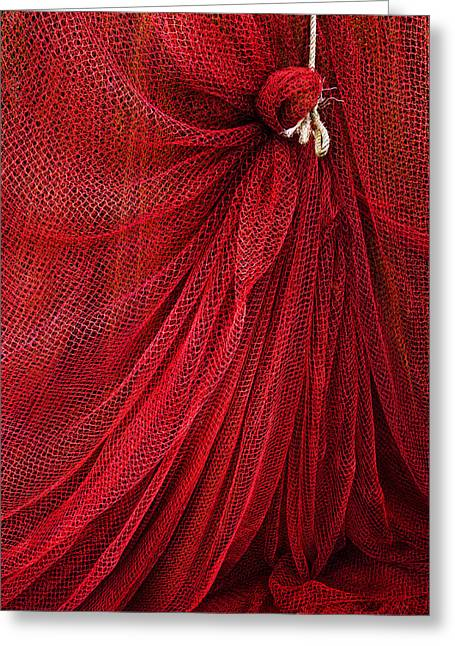 Netting Greeting Cards - A fishing net with a rope Greeting Card by Mikel Martinez de Osaba