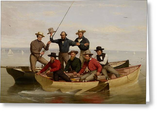 Fishermans Island Greeting Cards - A Fishing Party Off Long Island Greeting Card by Junius Brutus Stearns