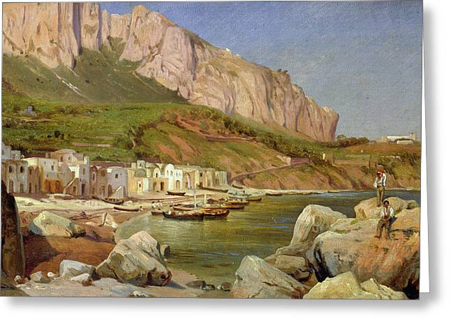 Boats At Dock Greeting Cards - A Fishing Village at Capri Greeting Card by Louis Gurlitt