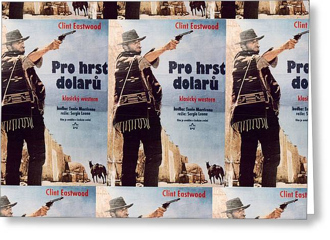 Sergio Leone Greeting Cards - A Fistful of Czech Dollars Greeting Card by Richard Reeve