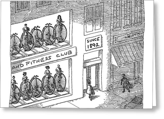 A Fitness Club With Sign Greeting Card by John O'Brien