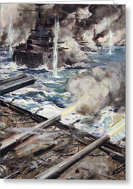 Battle Ship Greeting Cards - A Fleet Of Battleships Firing Greeting Card by Cyrus Cuneo