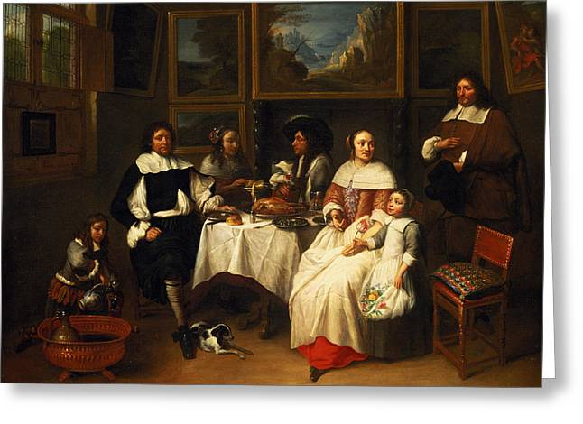 Cushions Greeting Cards - A Flemish Family At Dinner Greeting Card by Gillis van Tilborgh