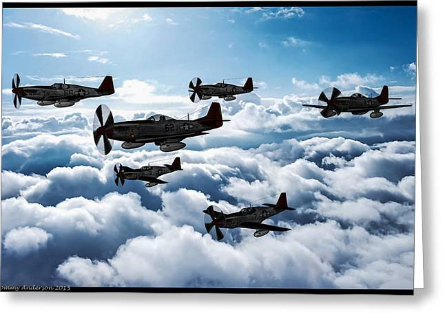 World War 2 Airmen Greeting Cards - A flight of Red Tails in Oil Greeting Card by Tommy Anderson