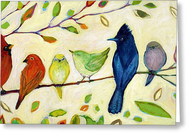 Sparrow Paintings Greeting Cards - A Flock of Many Colors Greeting Card by Jennifer Lommers