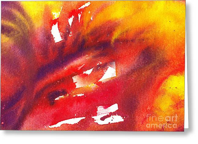 Close Up Paintings Greeting Cards - A Floral Flame Abstract Greeting Card by Irina Sztukowski
