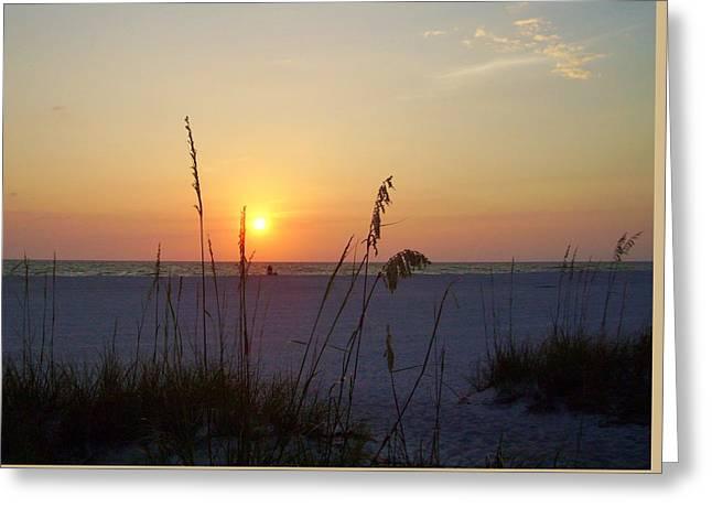 Surf Silhouette Digital Art Greeting Cards - A Florida Sunset Greeting Card by Cynthia Guinn