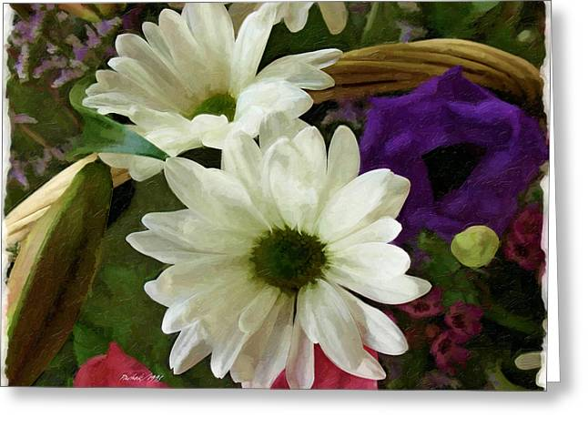 Water Based Oils Mixed Media Greeting Cards - A Flower Basket Greeting Card by Pachek