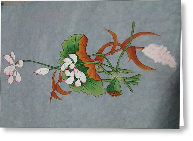 Etc. Paintings Greeting Cards - A Flower Greeting Card by Im Son