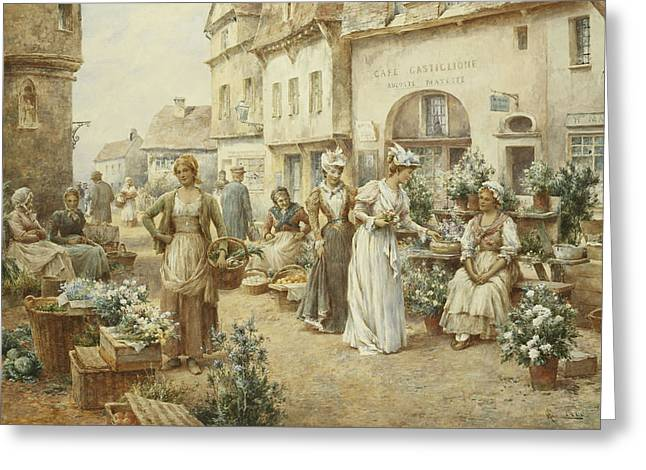 Street Fairs Greeting Cards - A Flower Market Greeting Card by Alfred Glendening Junior