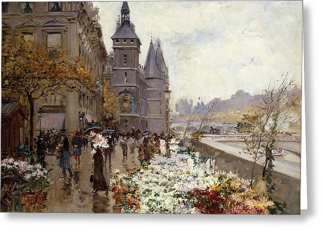 A Flower Market Along The Seine Greeting Card by Georges Stein