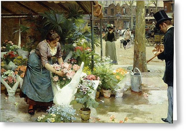 Trader Greeting Cards - A Flower Market in Paris Greeting Card by Louis de Schryver