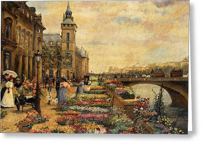 Botanical Figures Greeting Cards - A Flower Market on the Seine Greeting Card by Ulpiano Checa y Sanz
