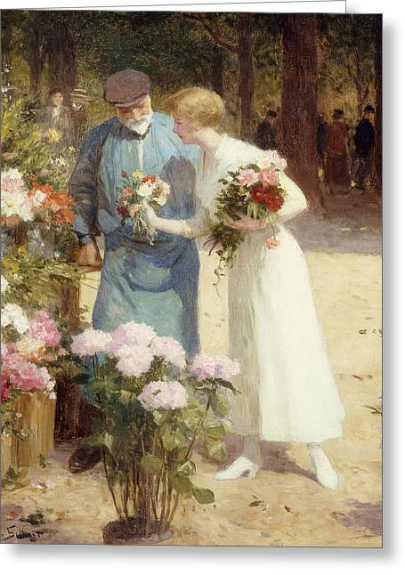 In Bloom Greeting Cards - A Flower Market Greeting Card by Victor Gabriel Gilbert