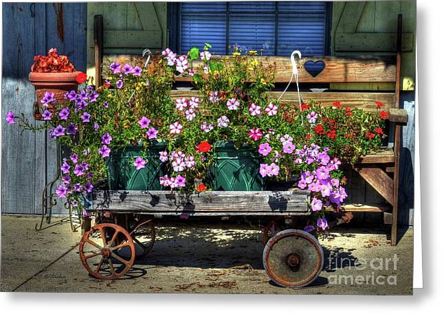 Rural Indiana Greeting Cards - A Flower Wagon Greeting Card by Mel Steinhauer