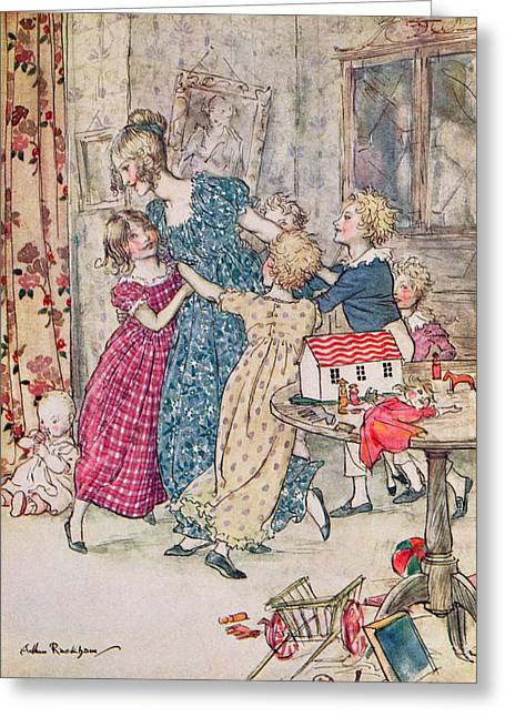 Child Toy Greeting Cards - A Flushed And Boisterous Group, Book Illustration Colour Litho Greeting Card by Arthur Rackham
