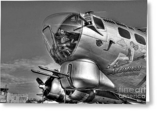 Vintage Pinup Greeting Cards - A Flying Fortress bw Greeting Card by Mel Steinhauer