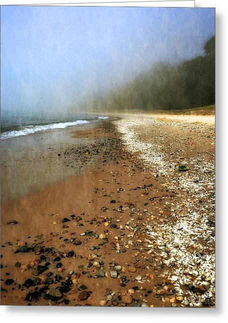 Foggy Beach Greeting Cards - A Foggy Day at Pier Cove Beach 2.0 Greeting Card by Michelle Calkins