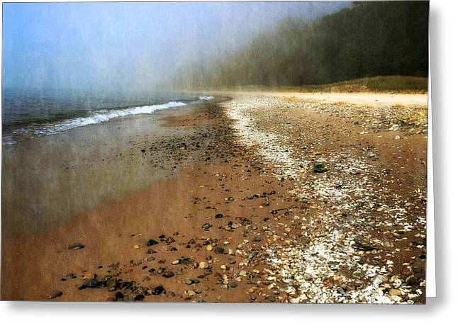 A Foggy Day at Pier Cove Beach 2.0 Greeting Card by Michelle Calkins