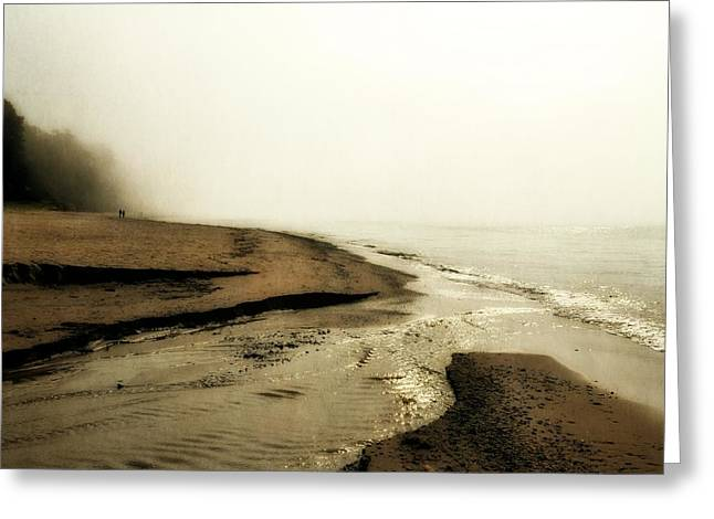 Foggy Beach Greeting Cards - A Foggy Day at Pier Cove Beach Greeting Card by Michelle Calkins