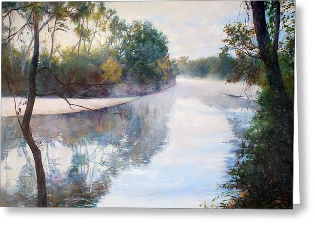 White River Scene Drawings Greeting Cards - A foggy Day Greeting Card by Nancy Stutes