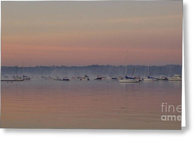 Boats In Reflecting Water Greeting Cards - A Foggy Fishing Day Greeting Card by John Telfer