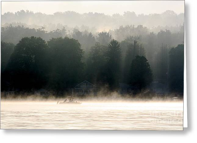 Jay Nodianos Greeting Cards - A Foggy Morning Fishing Greeting Card by Jay Nodianos