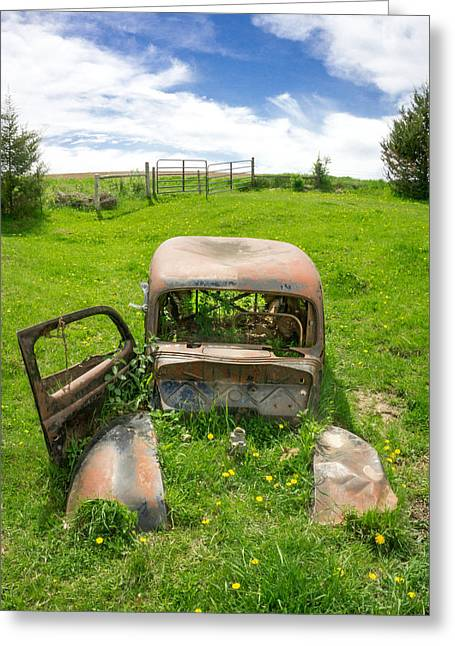 Rusted Cars Greeting Cards - A Ford in a field Greeting Card by Jim Hughes