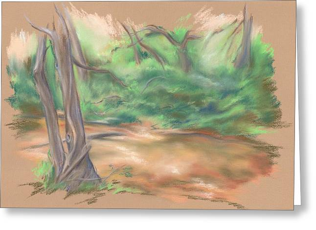 Brook Pastels Greeting Cards - A Forest Brook Greeting Card by MM Anderson